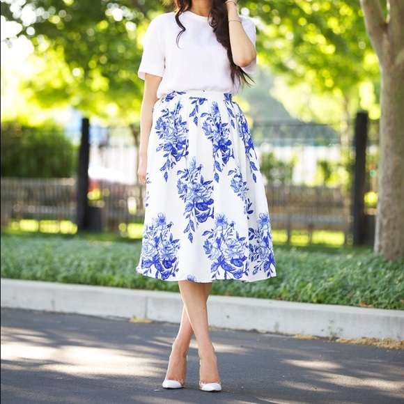 2df5f8755d Chicwish Skirts | Blue Floral Sketch Pleated Midi Skirt | Poshmark